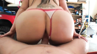 Big assed babe fucks her neighbour in the garage