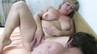 Old fat granny with big boobs gets rammed from a young rod