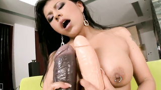 Lustful Yoha stretches the limit with great pleasure with her new big sex toys