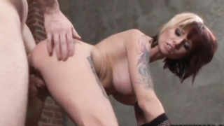 Tattooed mature babe Monroe Valentino gets her ass rammed really hard