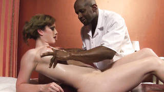 Jennifer White gets naughty with her black masseur