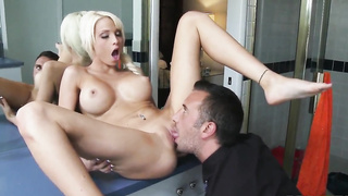 Big Tits blonde Keiran Lee  gets sucked from her cunt