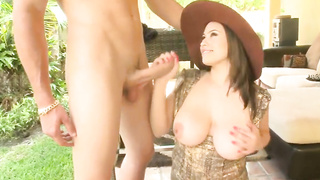 Big tits Selena Castro sucking cock with a smile